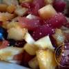 Salade de fruits frais aux cristaux d'huiles essentielles cannelle
