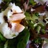 Salade de jeunes pousses à l'oeuf poché, vinaigrette balsamique chaude