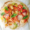 Pizza à base de farine de pois chiches