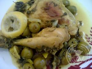 Poulet m'chermel (aux olives et citrons confits)